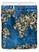Coins World Map Duvet Cover