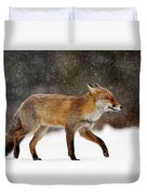 Cold As Ice - Red Fox In A Snow Blizzard Duvet Cover