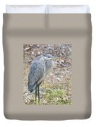 Cold Blue Heron Duvet Cover