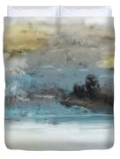 Cold Day Lakeside Abstract Landscape Duvet Cover