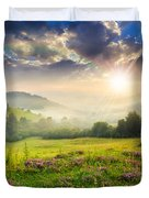 Cold Fog In Mountains On Forest At Sunset Duvet Cover