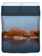 Cold Ice Warm Light - Early Winter Morning On The Lake Shore Duvet Cover