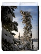 Cold Morning On Boot Lake Duvet Cover