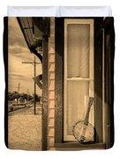 Cold Point Village Station - Banjo Mandolin In Sepia Duvet Cover