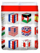 Collage Of Flags Of Different Nation  Duvet Cover