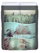 Collage Of Winter Grass Duvet Cover