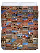 Collage Roof And Windows - The City S Eyes Duvet Cover