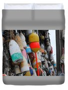 Collection Of  Buoys In Bar Harbor Maine Duvet Cover