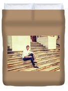 College Student Sitting On Stairs, Relaxing Outside Duvet Cover