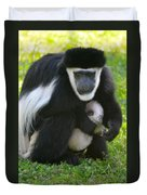 Colobus Monkey With Baby Duvet Cover
