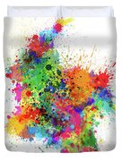 Colombia Paint Splashes Map Duvet Cover