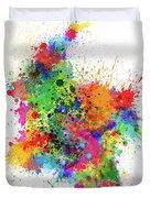 Colombia Paint Splashes Map Duvet Cover