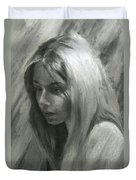 Portrait Of Woman In Charcoal Duvet Cover