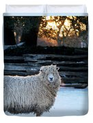 Colonial Sheep In Winter Duvet Cover