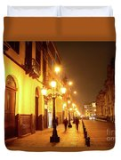 Colonial Street In Central Lima At Night Duvet Cover