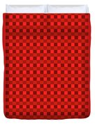 Color Dots On Red Drawing Abstract #7 Duvet Cover