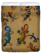 Color Lizards On The Wall Duvet Cover