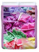 color pigments as an offering in the temple, Chennai, Tamil Nadu Duvet Cover
