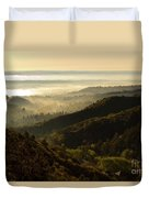 Colorado And Manitou Springs Valley In Fog Duvet Cover