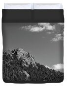 Colorado Buffalo Rock With Waxing Crescent Moon In Bw Duvet Cover
