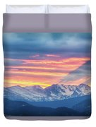 Colorado Rocky Mountain Sunset Waves Of Light Part 1 Duvet Cover