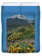 Colorado Spring Wildflower And Mountain Portrait Duvet Cover by Cascade Colors