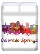 Colorado Springs V2 Skyline In Watercolor Duvet Cover