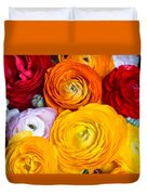 Colored Buttercup Flowers Duvet Cover
