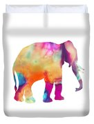 Colored Elephant Painting Duvet Cover
