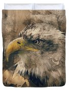 Colored Etching Of American Bald Eagle Duvet Cover