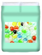 Colored Glass Beads On White Background Duvet Cover