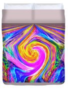 Colored Lines And Curls Duvet Cover