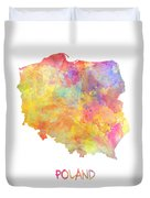 Colored Map Of Poland Duvet Cover