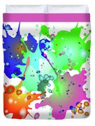Colored Splashes On A Blue Background Duvet Cover