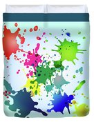 Colored Splashes On A Very Beautiful Blue Background Duvet Cover