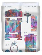 Colorful 1889 First Computer Patent Duvet Cover by Nikki Marie Smith
