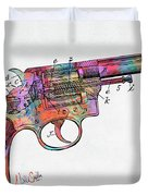 Colorful 1896 Wesson Revolver Patent Duvet Cover by Nikki Marie Smith
