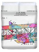 Colorful 1906 Wright Brothers Flying Machine Patent Duvet Cover