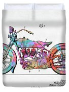 Colorful 1928 Harley Motorcycle Patent Artwork Duvet Cover