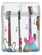 Colorful 1953 Fender Bass Guitar Patent Artwork Duvet Cover by Nikki Marie Smith