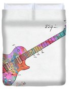 Colorful 1955 Mccarty Gibson Les Paul Guitar Patent Artwork Mini Duvet Cover by Nikki Marie Smith