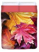 Colorful Autumn Leaves Closeup Duvet Cover