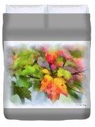 Colorful Autumn Leaves - Digital Watercolor Duvet Cover