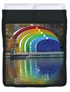 Colorful Bandshell And Swan Duvet Cover