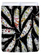 Colorful Black And White Leaves Duvet Cover