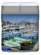 Colorful Boats Docked In Nice Marina, France Duvet Cover