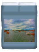Colorful Boats On Cloudy Day At Boothbay Harbor Duvet Cover