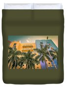 Colorful Building And Palm Trees Duvet Cover