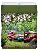 Colorful Canoes At Hungry Mother State Park Duvet Cover