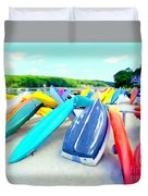 Colorful Canoes Duvet Cover